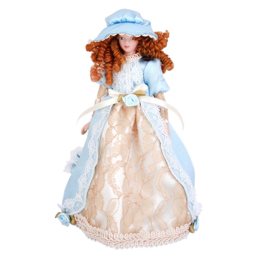 KEOL-Dollhouse Miniature Porcelain Cute Dolls Victorian Lady in Dress Hat Stand Pretend Play Classic Dolls