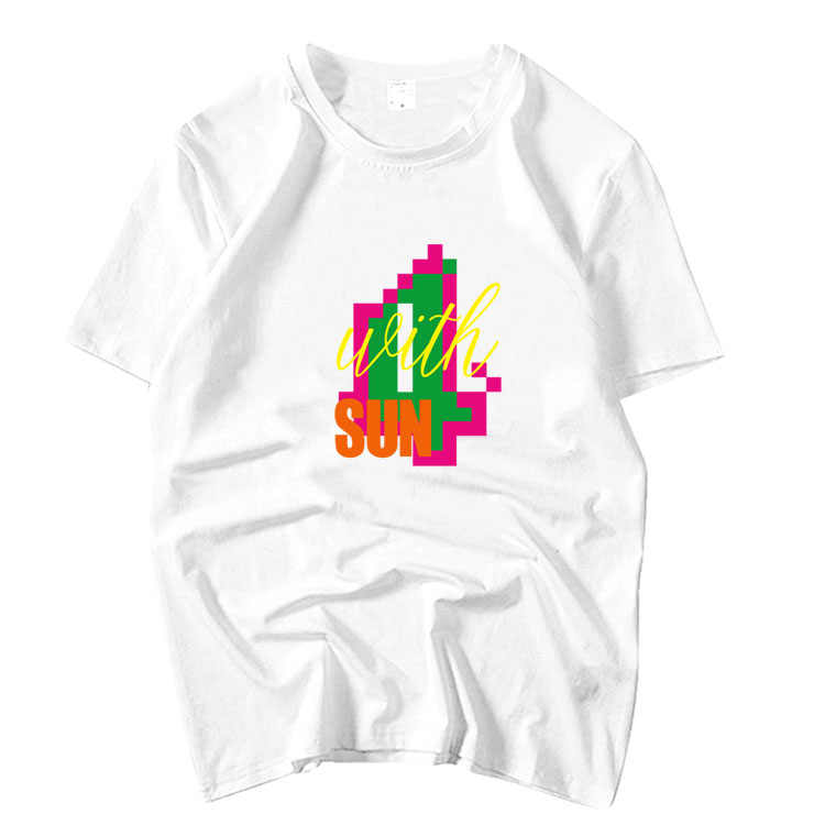 Zomer stijl kpop mamamoo 4 met zon concert dezelfde printing o hals korte t shirt fans unisex mode losse t-shirt