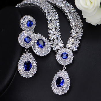 Blue Green Red White Zirocnia Silver Jewelry Sets for Women Earrings Necklace Pendant Wedding Engagement Anniversary Gift
