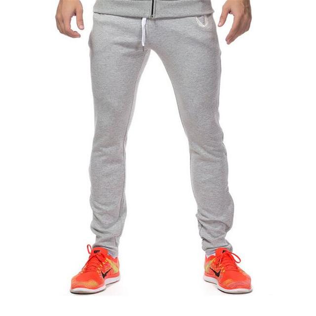 Joggers Pantalones casuales Hombres de Algodón Culturismo Fitness Pantalones de Chándal Para Hombre Flaco Pantalón Cuerpo de Ingenieros Daño Sudor Pantalones