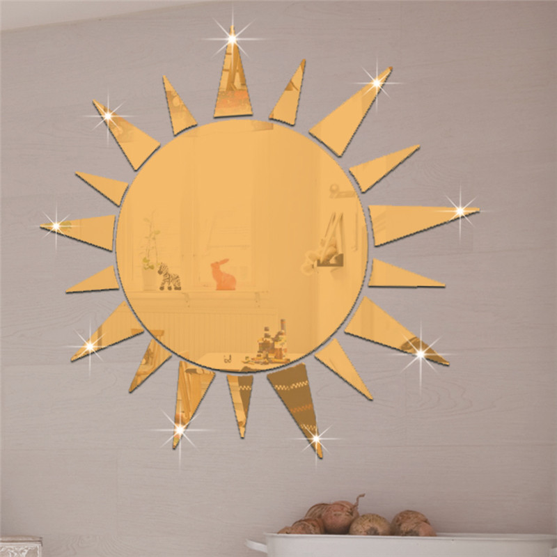 Nice Kreative 3D Acryl Spiegelfläche Wandaufkleber DIY Goldene Silber Sonne  Design Hauptdekor Raum Fliesen Spiegel Kunst Dekoration Aufkleber In  Kreative 3D ...