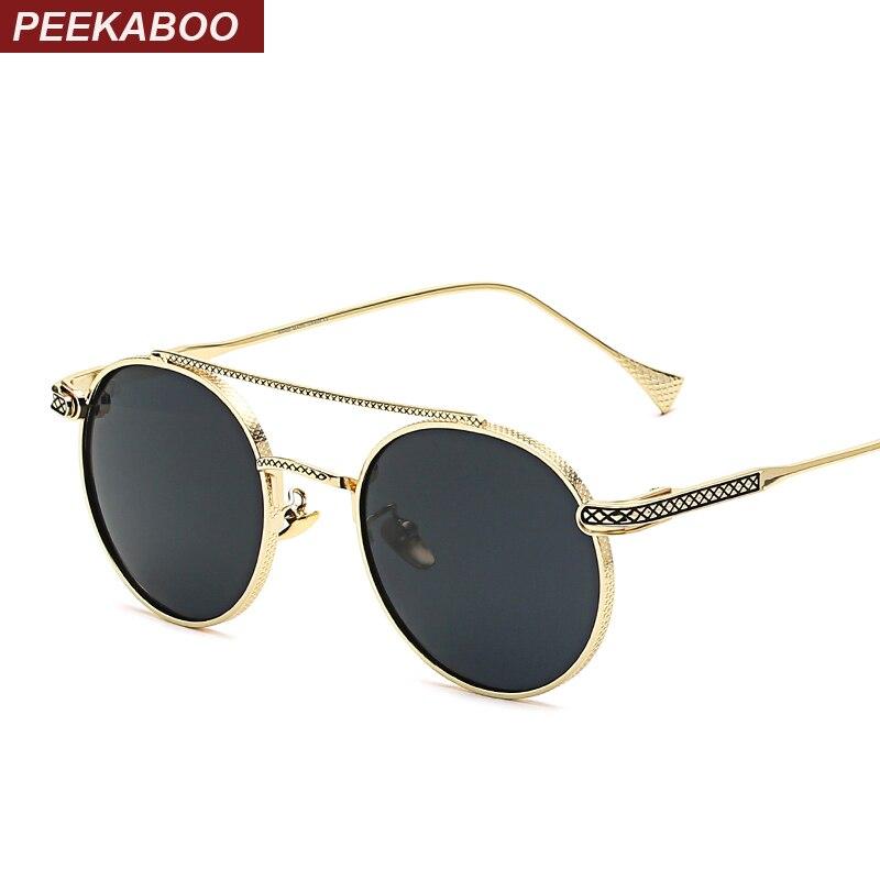 Peekaboo 2018 metal gold frame sunglasses men small round ...
