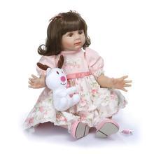 лучшая цена 60CM Lifelike Reborn Toddler Bebe Doll Reborn Baby Girl Soft Silicone Vinyl Stuffed Body Christmas Surprice Gifts Lol Doll