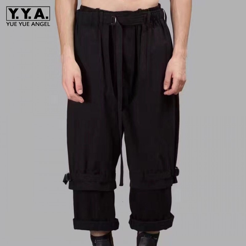 Men Casual Ankle Length Pants Designer Runway Street Loose Fit Hip Hop Pants Top Quality Black Wide Leg Baggy Pantalon Homme