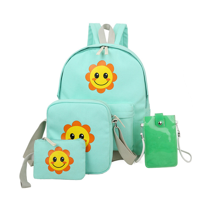 4 шт./компл. 2016 летом подсолнечника дети школа сумка холст рюкзак для девочек-подростков цветочные mochila эсколар женщины сумку набор