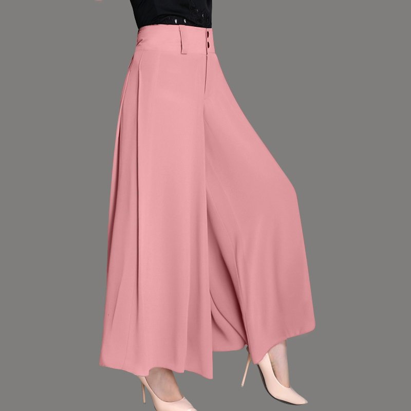 Chiffon Wide Leg   Pants   Summer Thin Ankle-Length   Pants   Women Solid Color Casual OL High Waist Wide Leg   Pants     Capris   YP0980