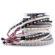 led rgb tape DC5V rgb strip led 5050 Smart RGB Led Strip ws2812 high density addressable led strip Black/White PCB 60leds/m Ful цены онлайн