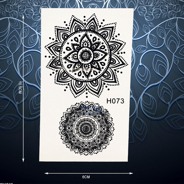 Lace Sun Flower Temporary Tattoo Stickers Waterproof Black Henna Decals Waterproof Women Body Art Arm Neck Tattoo Stickers PH073