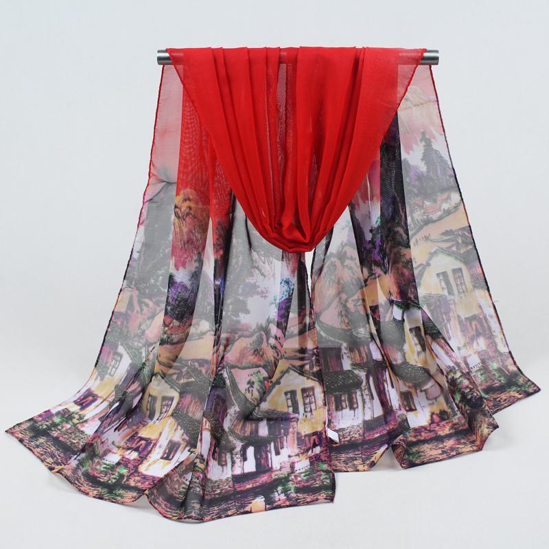 moda bufanda larga de polister mujeres de la impresin de seda bufandas nuevo de otoo