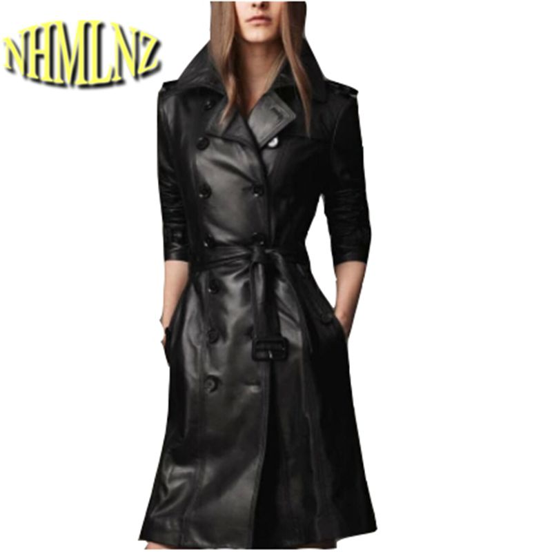 Autumn/winter 2017 big yards Fashion ladies   leather   Cultivate one's morality   leather   Slim windbreaker long coat Women D-0413