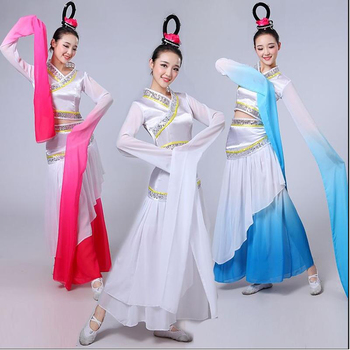 New Girls Long sleeves dance costumes Chinese classical water sleeves dance Costumes Women modern dance performance clothing