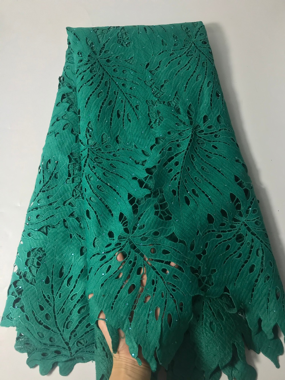 Cord lace guipure lace High quality African cotton lace fabric french net lace Rhinestones with sequins