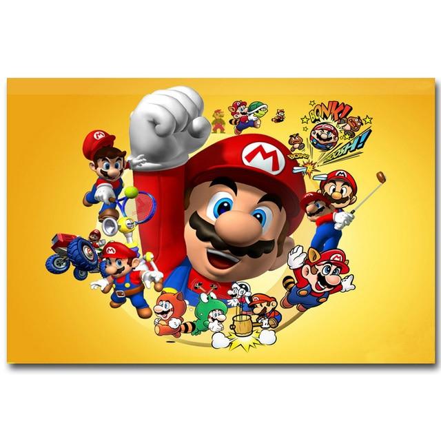 Super Mario Bros Art Silk Fabric Poster Print 13x20 24x36 inch Vedio ...