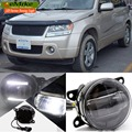 eeMrke For Suzuki Grand Vitara 2007 - up 2 in 1 LED DRL Fog Lights Lamp With Q5 Lens Daytime Running Lights