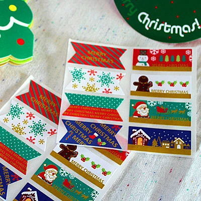 80Pcs/Lot New Christmas Snowflake Snowman Handmade Sealing Label Kraft Sticker Cake Baking DIY Work Paper Gift Box Stickers