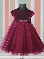 Communion Dresses Burgundy Velvet Top A Line Tulle Skirt Little Girl Dresses With Flowers Waist Pageant