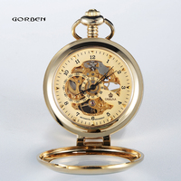 Luksusowe Złoty Lupa Skeleton Mechaniczny Zegarek Kieszonkowy Mody Unikalne Mężczyźni Zegarki z FOB Łańcuch Najlepszy Prezent