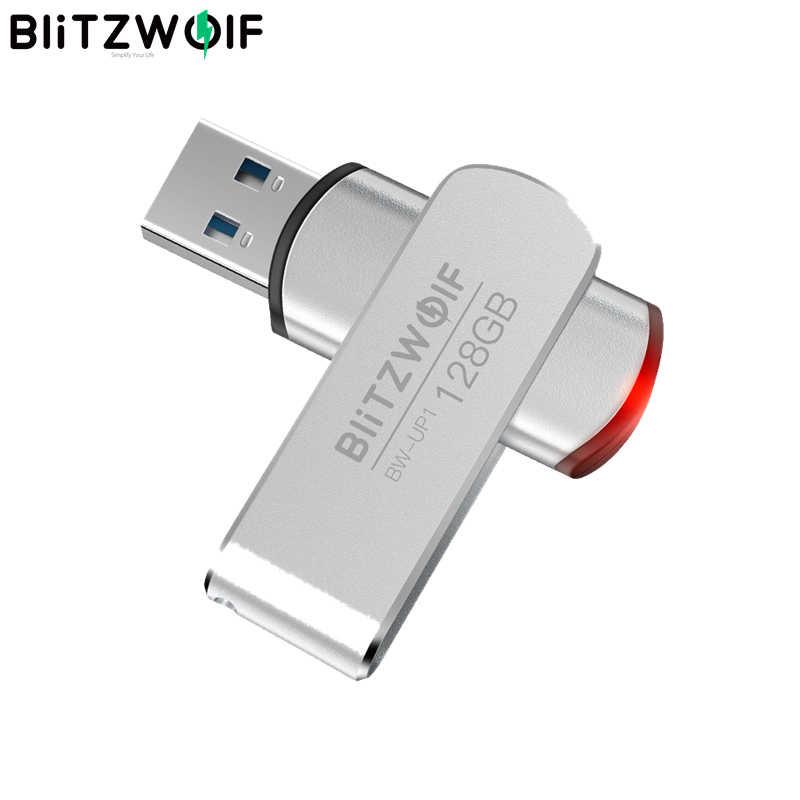 BlitzWolf BW-UP1 الألومنيوم سبيكة 360 ° الدورية غطاء USB 3.0 فلاش حملة 16GB 32GB 64GB 128GB الخارجية تخزين