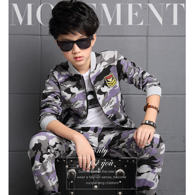 2017 Children Clothing Sets For Boys Navy blue Camouflage Sports Suits Autumn Kids Tracksuits Teenage Boys Sportswear 12 Years teenage girls clothes sets camouflage kids suit fashion costume boys clothing set tracksuits for girl 6 12 years coat pants