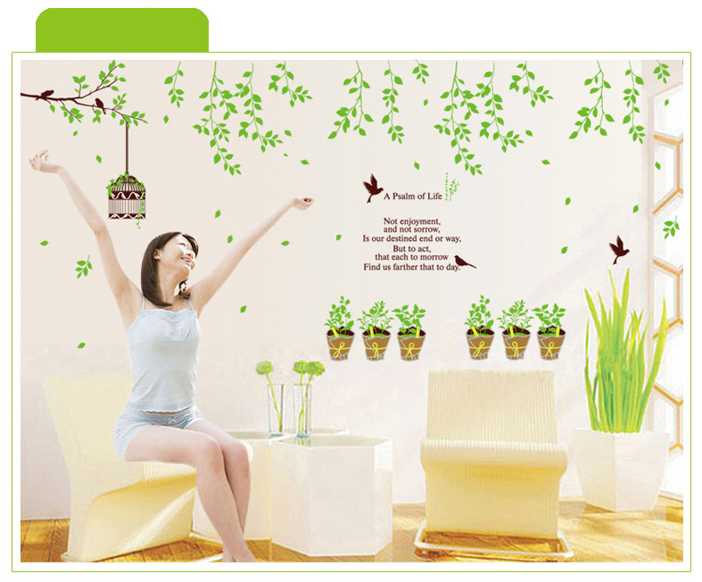 Free Shipping Green Tree Lined Cage Potted Green Home Green Living Room  Dining Room Bedroom Wall Stickers