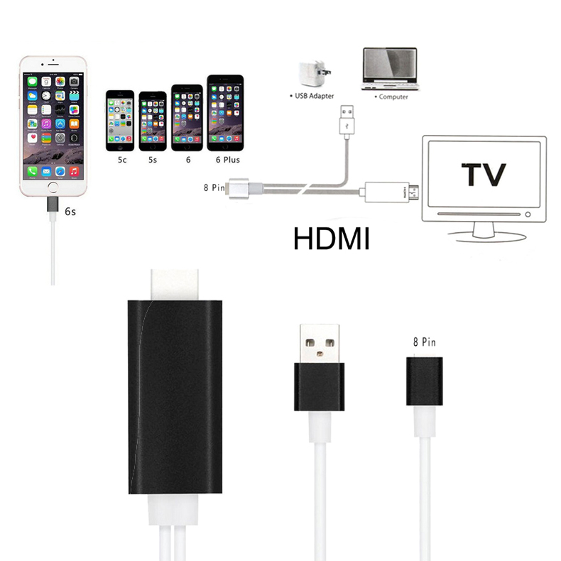 hot sale online 13cfa f99c6 US $132.01 |10pcs/lot Hi Q 8pin and USB to Male HDMI Cable FullHD 1080p  HDTV Adapter For iPhone 5 5s 5c SE 6 6s plus Connect TV Moniter-in Mobile  ...