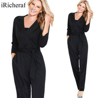 Long Plus Size Jumpsuits And Rompers For Women XXL Autumn Loose Sexy V Neck Pockets Fashion