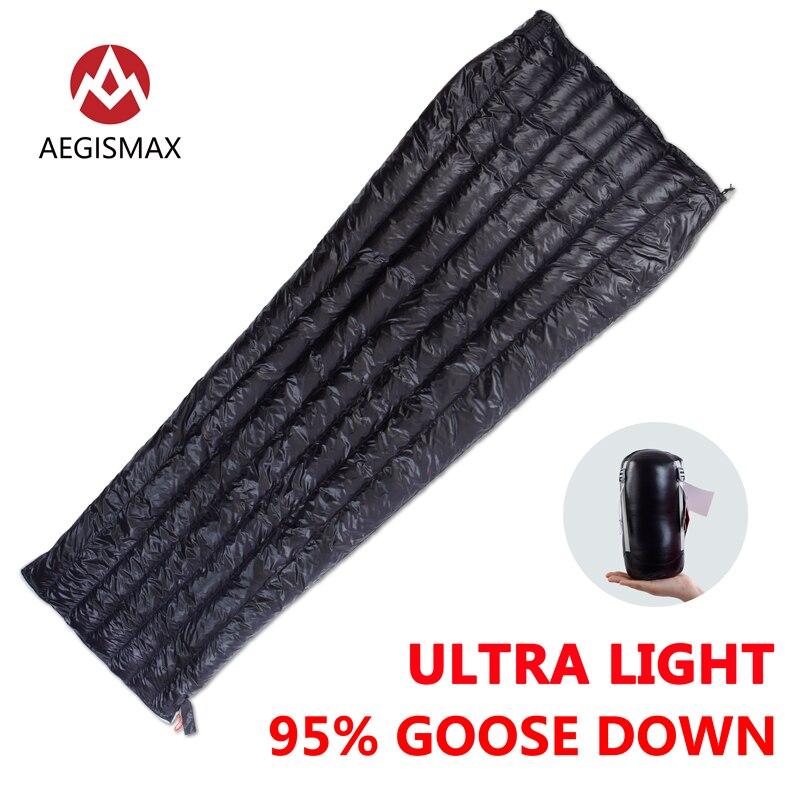 AEGISMAX Открытый Отдых e длинные 95% гусиный Подпушка конверт спальный мешок три сезона удлиненный взрослых нейлон Весна спальный мешок