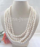 Beautiful 100 8 9mm Cream Flaw Round Freshwater Pearl Necklace