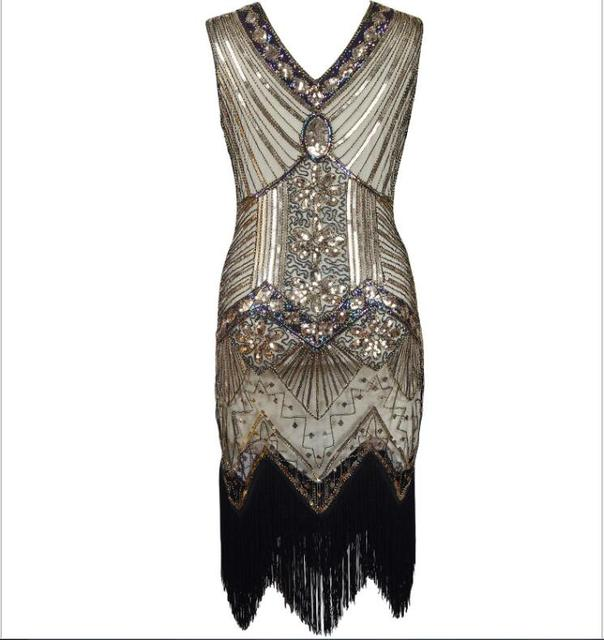 Women 1920s Flapper Dress Gatsby Vintage Plus Size Roaring 20s Costume  Dresses Fringed for Party Prom S-2XL