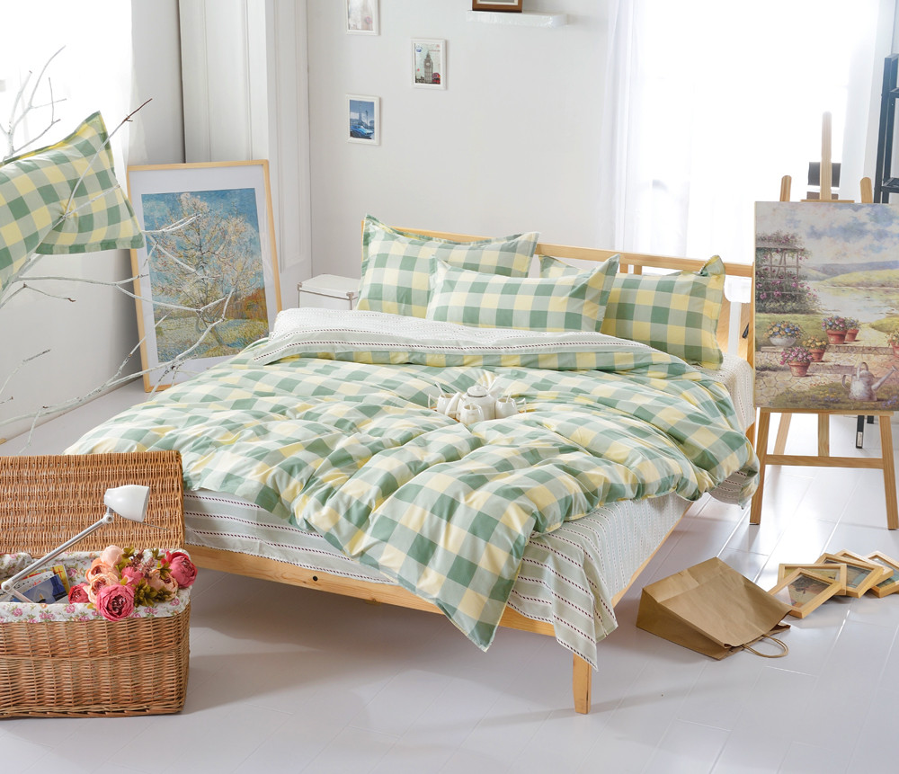 verde y orange edredn de cama juegos de cama pcs rayas a cuadros