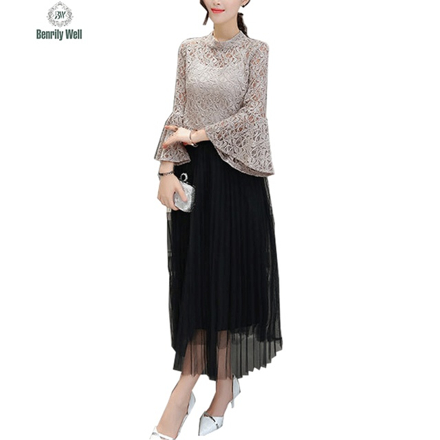 Women Sexy Office 2 Two Piece Set Summer 2017 Party Lace Hollow Out T-Shirt + Gauze Chiffon Dress Skirt  Suits Clothing Sets