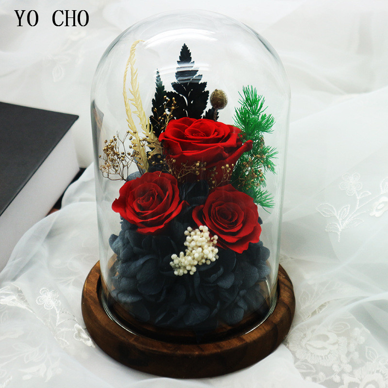 YO CHO Beautiful Valentine's day Gift Artificial Preserved Peony Rose Flower in Flask Glass Enchanted Rose in Flask Glass Flower