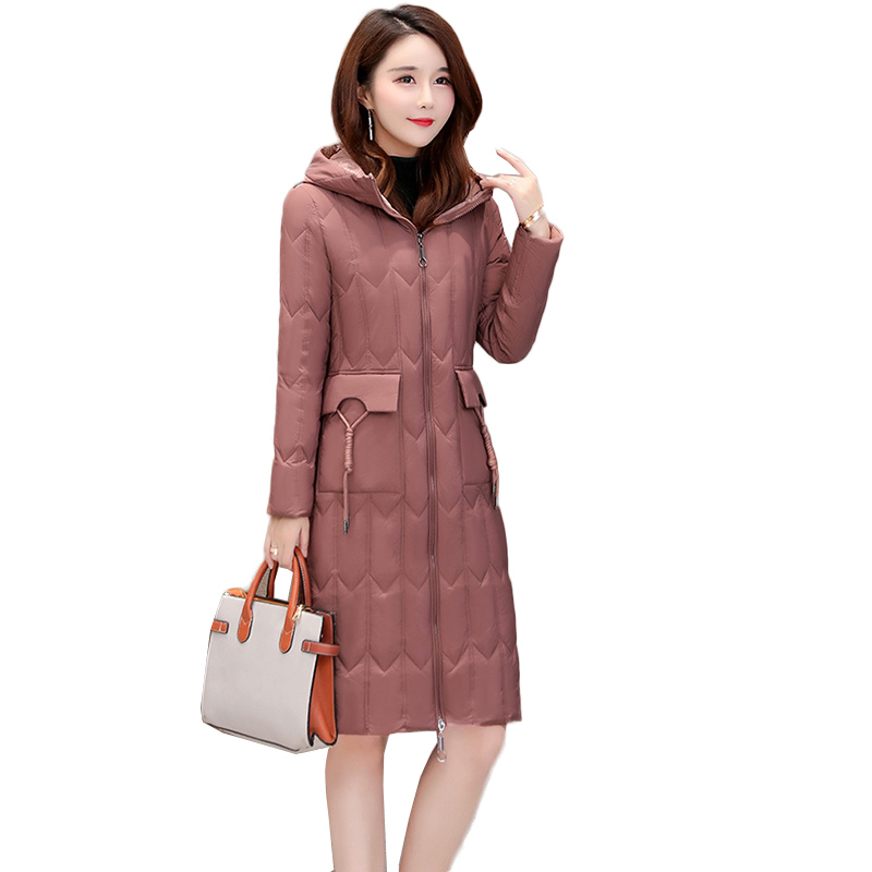 2018 New Autumn Winter Women Duck   Downs   Jacket Parka Long   Down     Coat   Ladies Ultra Light Outerwear Hooded   Coats   Plus Size NW1043