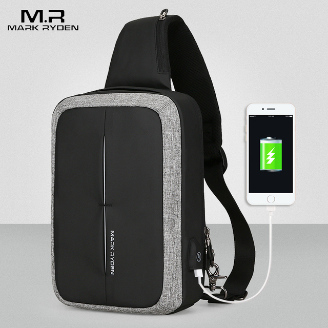 Mark Ryden Novos Homens Saco Peito Saco Crossbody Ombro bolsa de Negócios de Alta Capacidade de Recarga USB Design