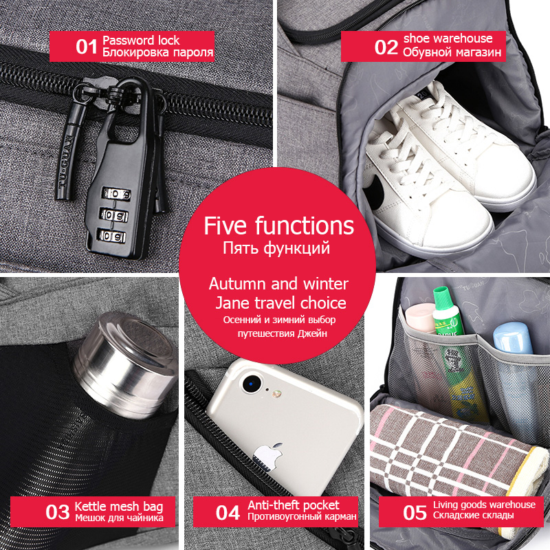 15 inchMultifunction hombres mujer bolsa de Deporte Fitness bolsas mochilas para portátiles de mano de viaje con zapatos bolsillo Yoga bolsa de deporte - 6