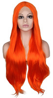 QQXCAIW Lace Front Wig For Women Orange Long Curly Handmade Hairline Glueless Heat Resistant Fiber Synthetic Hair Wigs