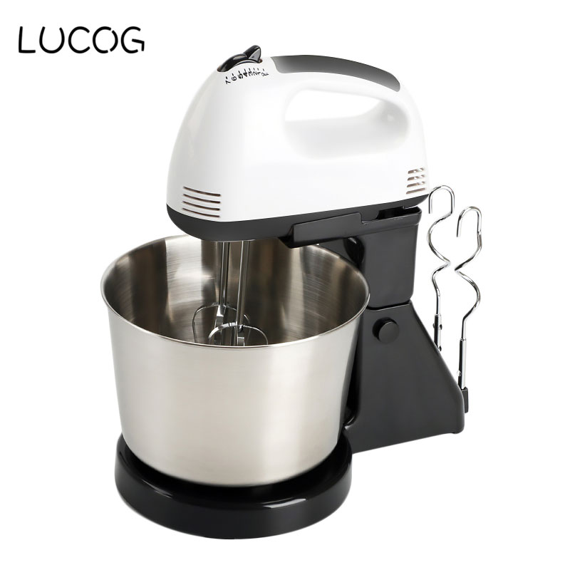LUCOG 220V Table Electric Food Processor Food Mixers for Kitchen Multifunctional Handheld Blender Egg Beater Mixer With 7 Speed stainless steel manual push self turning stirrer egg beater whisk mixer kitchen wholesale price