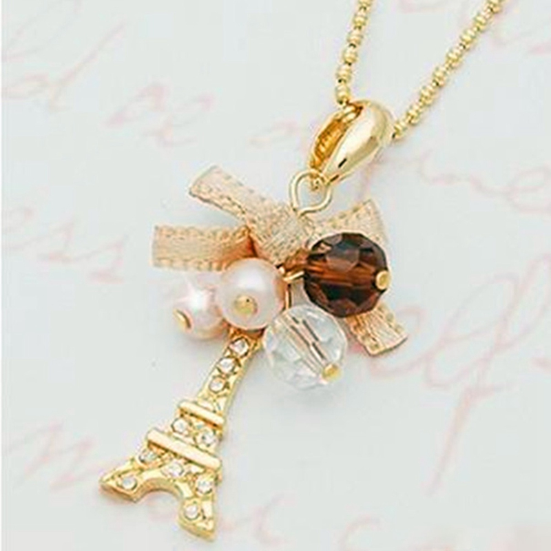 Fashion Alloy Lace Bow Tower Statement Necklace For Woman Imitation Pearls Beads Necklaces & Pendants Jewelry