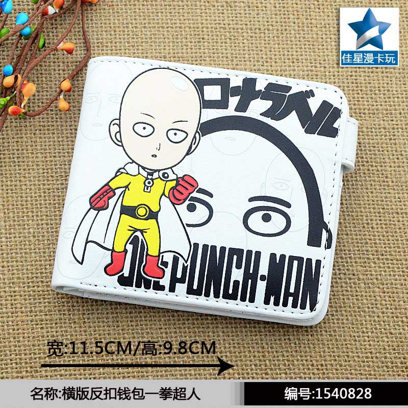 White Anime One Punch Man Saitama Sensei Horizontal Wallet/Short Purse With Button july sand beige halter neck crochet front balcony and brief sexy 2189 latest bikini set