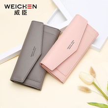 WEICHEN Long Wallets Women Day Clutch Famale Purse For Girl Leather Wallet For Credit Cards Cell Phone Pocket Zipper Casual Flap