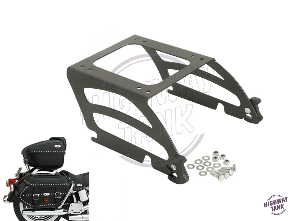 Black Motorcycle Detachables Solo Tour-Pak Mounting Rack Moto Luggage Rack case for Harley Softail Fat Boy FLST 2005-2017 boy and going solo