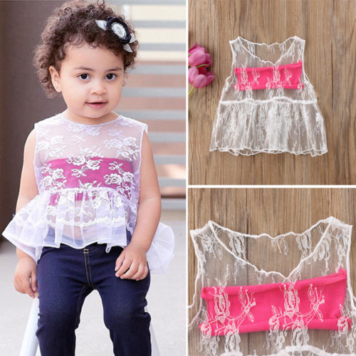 Fashion Summer Baby Girls Kids Lace Shirt + tube vest tops Newborn Outfit Clothes White