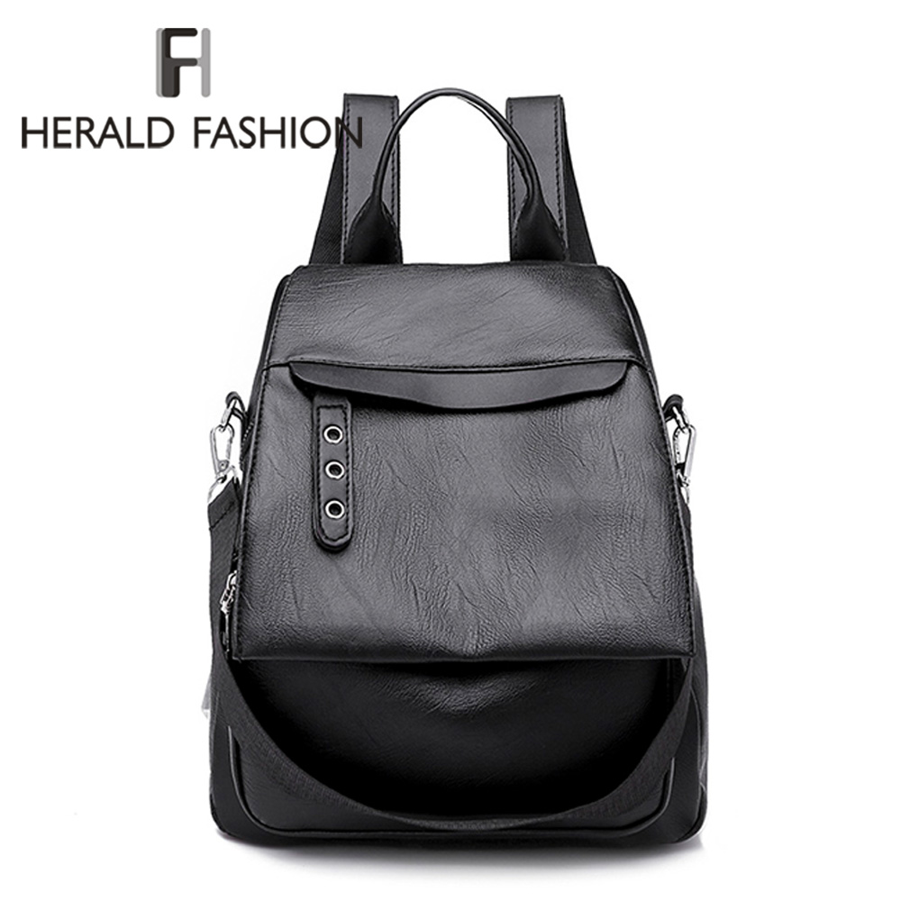 Herald Fashion Women Backpack for School Style Leather Student Bag For Teenage Girls Simple Design Women Casual Daypack mochila fashion leather women backpacks high capacity brand school bag for teenage girls casual style design mochila ladies new arrival