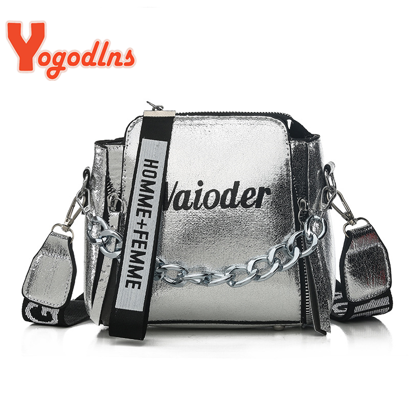Yogodlns Fashion Tide Ladies Letter Handbags Wide Strap Chains Shoulder Bag Women Crossbody Bags Bolsa 2019 Girls Small Purse
