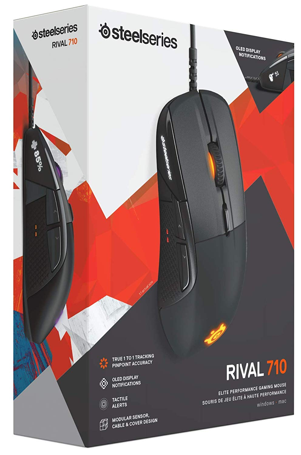 SteelSeries Rival 710 Gaming Maus 16 000 CPI TrueMove3 Optical Sensor OLED Display haptisches Feedback RGB