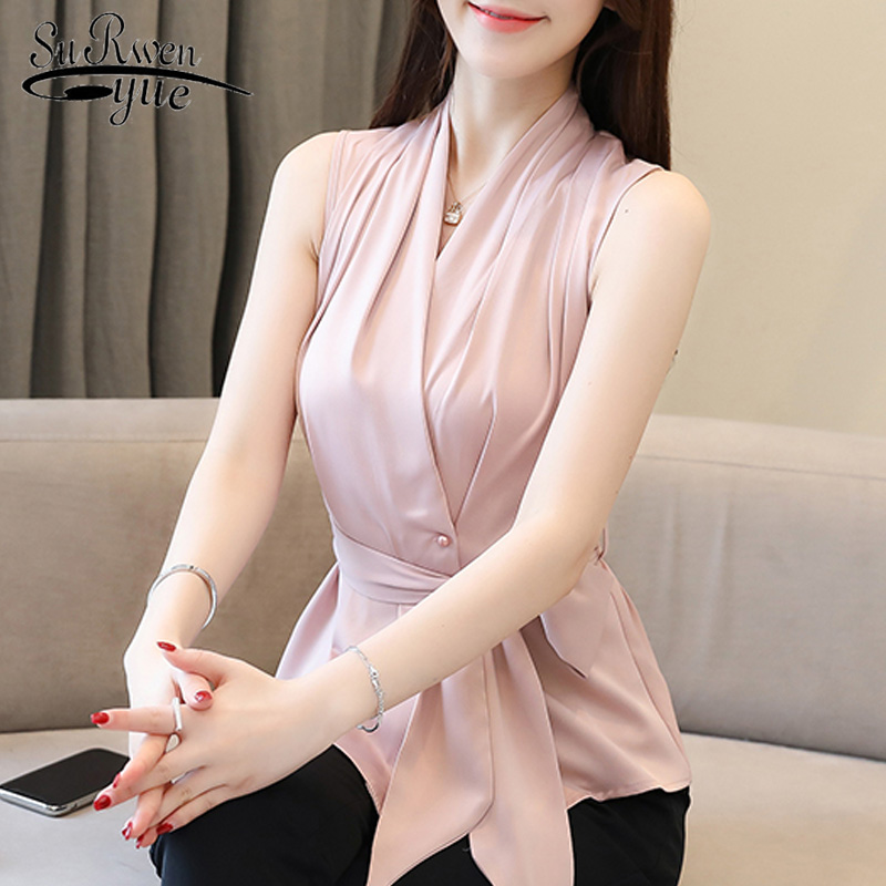 Womens Summer Blouse 2019 Sexy Sleeveless Women Shirts Solid Chiffon Blouse Women Slim V-neck Office Ladies Tops Formal 3528 50