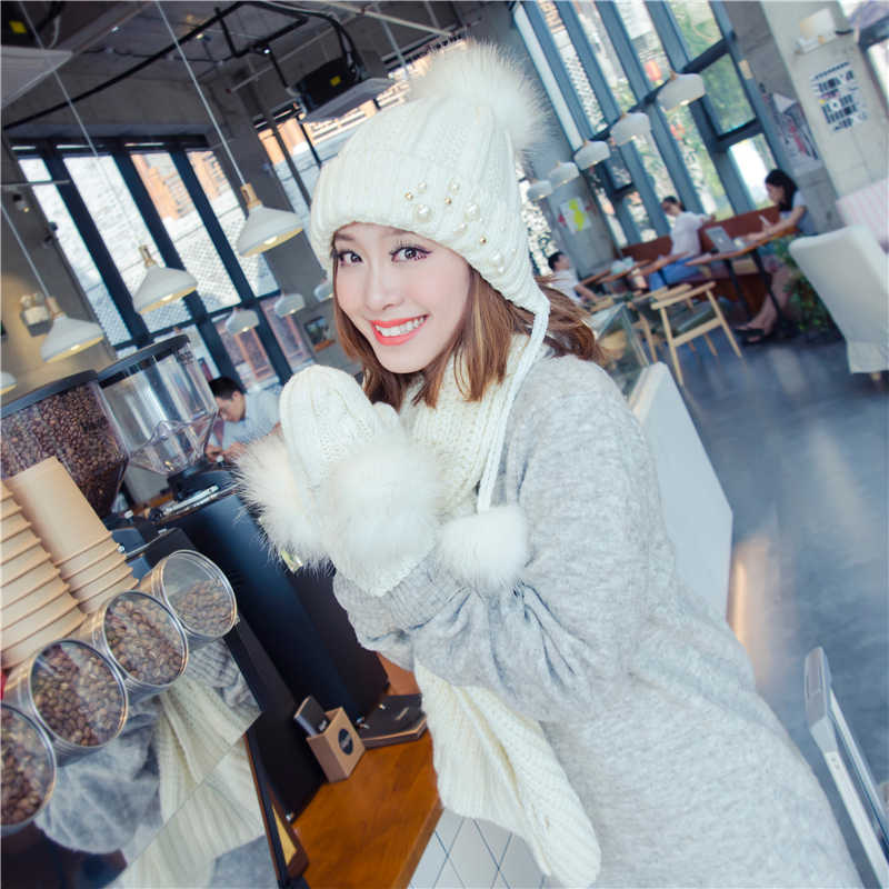 ニット帽子スカーフ手袋 3 ピースガールフェイクファーポンポンボール 2 ピースセット女性ビーニー冬ピンク耳介ビーズイヤーマフ