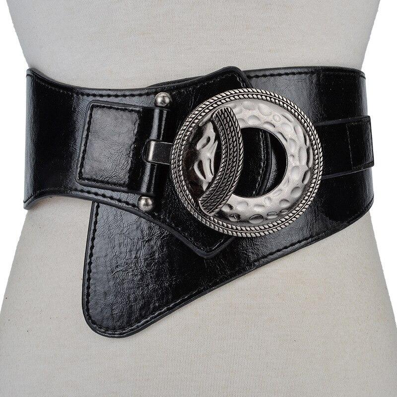 Super Wide PU+Cowskin Adjustable Shirt Slimming Corset Cummerbund Fashion Ladie Vintage Check Style Waist Belt Women Girdle Belt