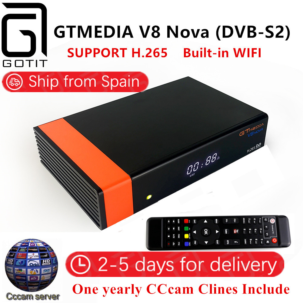 Satellite Receiver GTMEDIA V8 Nova DVB-S2 with 1 Year Europe Cccam 4clines Full HD 1080P Support H.265 Spain French UK Germany v8 super dvb s2 full 1080p hd fta satellite receiver usb wifi support biss key newcam 3g iptv youporn 1 year europe cccam server
