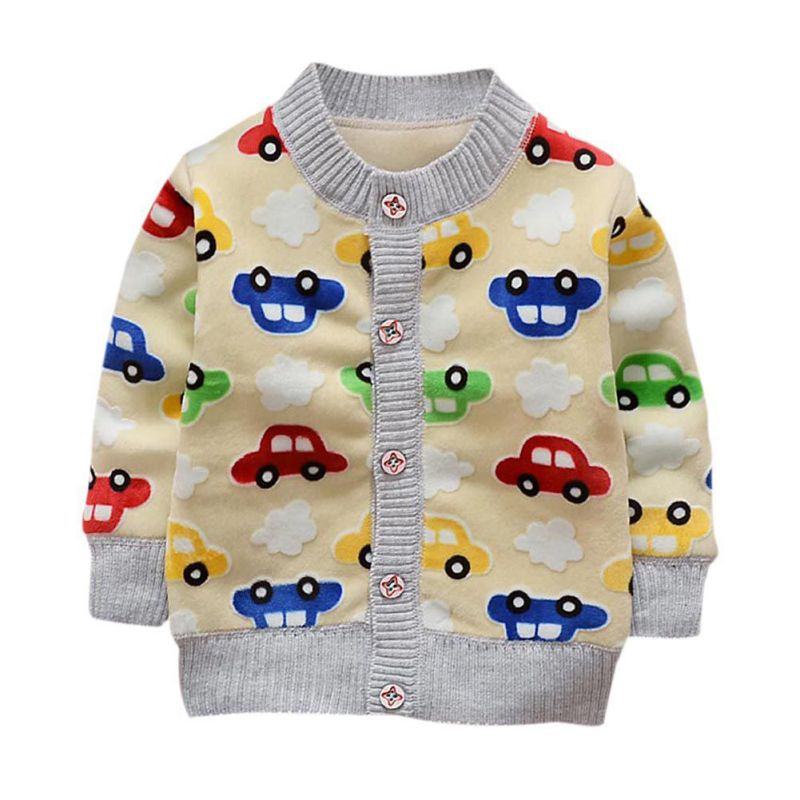 Baby Knitted Cardigan Sweater Cartoon Car Printed Boys Girls Sweaters Spring Autumn Children Cotton Clothing Outerwear